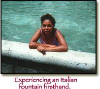 enjoying Italian fountain